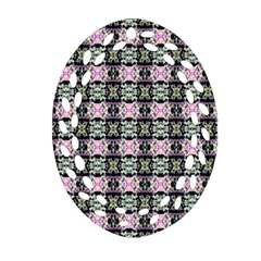 Colorful Pixelation Repeat Pattern Oval Filigree Ornament (Two Sides)