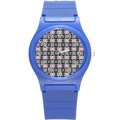 Colorful Pixelation Repeat Pattern Round Plastic Sport Watch (S)