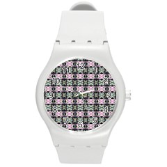 Colorful Pixelation Repeat Pattern Round Plastic Sport Watch (M)