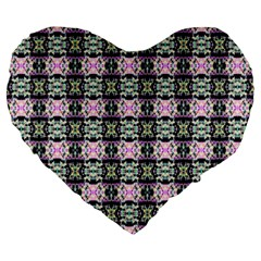 Colorful Pixelation Repeat Pattern Large 19  Premium Heart Shape Cushions