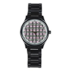 Colorful Pixelation Repeat Pattern Stainless Steel Round Watch