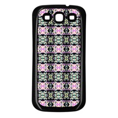 Colorful Pixelation Repeat Pattern Samsung Galaxy S3 Back Case (Black)