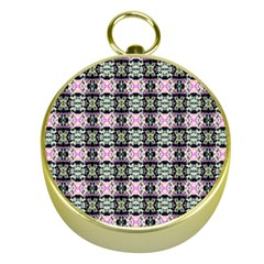 Colorful Pixelation Repeat Pattern Gold Compasses