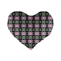 Colorful Pixelation Repeat Pattern Standard 16  Premium Flano Heart Shape Cushions