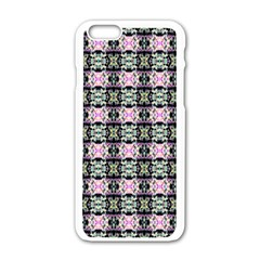 Colorful Pixelation Repeat Pattern Apple Iphone 6/6s White Enamel Case