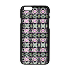Colorful Pixelation Repeat Pattern Apple iPhone 6/6S Black Enamel Case