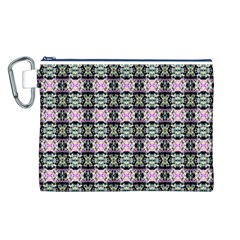 Colorful Pixelation Repeat Pattern Canvas Cosmetic Bag (L)