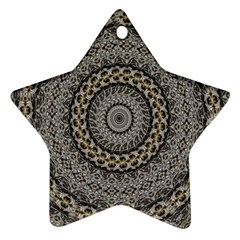 Celestial Pinwheel Of Pattern Texture And Abstract Shapes N Brown Ornament (Star)