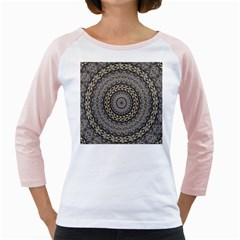 Celestial Pinwheel Of Pattern Texture And Abstract Shapes N Brown Girly Raglans