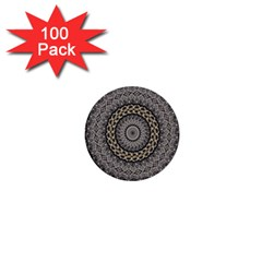 Celestial Pinwheel Of Pattern Texture And Abstract Shapes N Brown 1  Mini Buttons (100 pack)