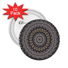 Celestial Pinwheel Of Pattern Texture And Abstract Shapes N Brown 2 25  Buttons (10 Pack)