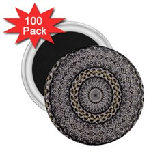 Celestial Pinwheel Of Pattern Texture And Abstract Shapes N Brown 2 25  Magnets (100 Pack)