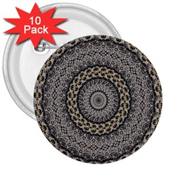 Celestial Pinwheel Of Pattern Texture And Abstract Shapes N Brown 3  Buttons (10 pack)
