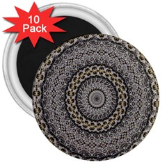 Celestial Pinwheel Of Pattern Texture And Abstract Shapes N Brown 3  Magnets (10 pack)