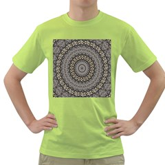 Celestial Pinwheel Of Pattern Texture And Abstract Shapes N Brown Green T Shirt