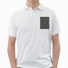 Celestial Pinwheel Of Pattern Texture And Abstract Shapes N Brown Golf Shirts