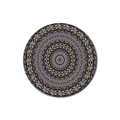 Celestial Pinwheel Of Pattern Texture And Abstract Shapes N Brown Rubber Coaster (Round)