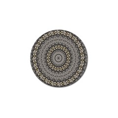 Celestial Pinwheel Of Pattern Texture And Abstract Shapes N Brown Golf Ball Marker