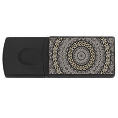 Celestial Pinwheel Of Pattern Texture And Abstract Shapes N Brown USB Flash Drive Rectangular (1 GB)
