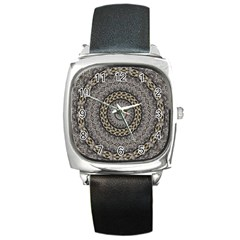 Celestial Pinwheel Of Pattern Texture And Abstract Shapes N Brown Square Metal Watch