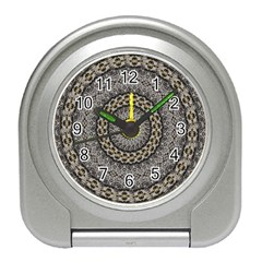Celestial Pinwheel Of Pattern Texture And Abstract Shapes N Brown Travel Alarm Clocks