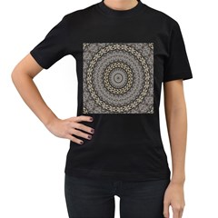 Celestial Pinwheel Of Pattern Texture And Abstract Shapes N Brown Women s T-Shirt (Black) (Two Sided)