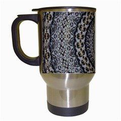 Celestial Pinwheel Of Pattern Texture And Abstract Shapes N Brown Travel Mugs (white)