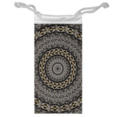 Celestial Pinwheel Of Pattern Texture And Abstract Shapes N Brown Jewelry Bag