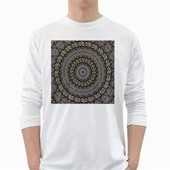 Celestial Pinwheel Of Pattern Texture And Abstract Shapes N Brown White Long Sleeve T Shirts