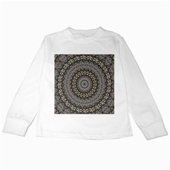 Celestial Pinwheel Of Pattern Texture And Abstract Shapes N Brown Kids Long Sleeve T-Shirts