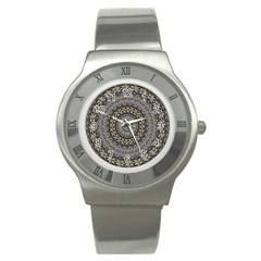 Celestial Pinwheel Of Pattern Texture And Abstract Shapes N Brown Stainless Steel Watch