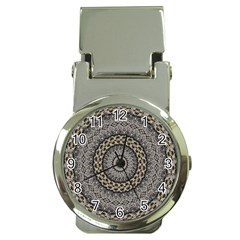 Celestial Pinwheel Of Pattern Texture And Abstract Shapes N Brown Money Clip Watches