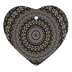 Celestial Pinwheel Of Pattern Texture And Abstract Shapes N Brown Heart Ornament (two Sides)