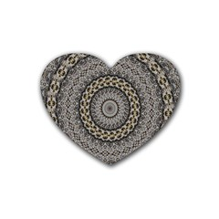 Celestial Pinwheel Of Pattern Texture And Abstract Shapes N Brown Rubber Coaster (Heart)