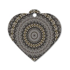 Celestial Pinwheel Of Pattern Texture And Abstract Shapes N Brown Dog Tag Heart (One Side)