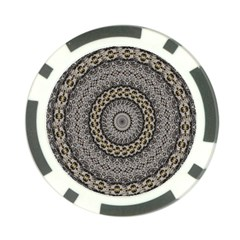 Celestial Pinwheel Of Pattern Texture And Abstract Shapes N Brown Poker Chip Card Guard