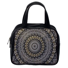 Celestial Pinwheel Of Pattern Texture And Abstract Shapes N Brown Classic Handbags (One Side)