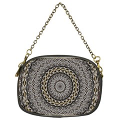 Celestial Pinwheel Of Pattern Texture And Abstract Shapes N Brown Chain Purses (one Side)