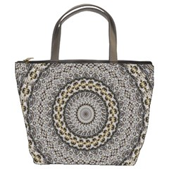 Celestial Pinwheel Of Pattern Texture And Abstract Shapes N Brown Bucket Bags
