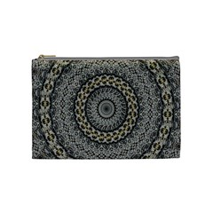 Celestial Pinwheel Of Pattern Texture And Abstract Shapes N Brown Cosmetic Bag (Medium)