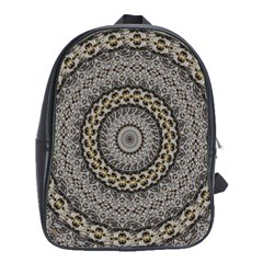 Celestial Pinwheel Of Pattern Texture And Abstract Shapes N Brown School Bags(large)