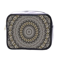 Celestial Pinwheel Of Pattern Texture And Abstract Shapes N Brown Mini Toiletries Bags