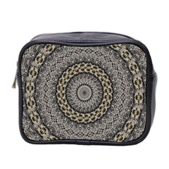 Celestial Pinwheel Of Pattern Texture And Abstract Shapes N Brown Mini Toiletries Bag 2-Side