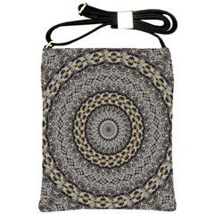 Celestial Pinwheel Of Pattern Texture And Abstract Shapes N Brown Shoulder Sling Bags