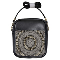 Celestial Pinwheel Of Pattern Texture And Abstract Shapes N Brown Girls Sling Bags