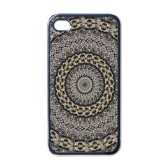 Celestial Pinwheel Of Pattern Texture And Abstract Shapes N Brown Apple Iphone 4 Case (black)