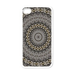 Celestial Pinwheel Of Pattern Texture And Abstract Shapes N Brown Apple iPhone 4 Case (White)