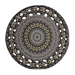 Celestial Pinwheel Of Pattern Texture And Abstract Shapes N Brown Round Filigree Ornament (two Sides)