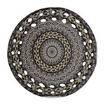 Celestial Pinwheel Of Pattern Texture And Abstract Shapes N Brown Round Filigree Ornament (Two Sides) Front