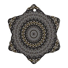 Celestial Pinwheel Of Pattern Texture And Abstract Shapes N Brown Snowflake Ornament (two Sides)
